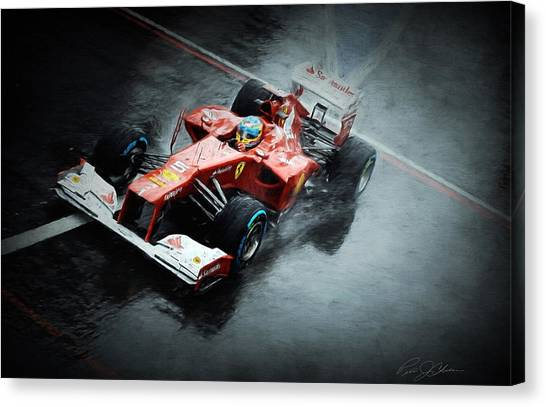 Formula 1 Canvas Print - Ferrari Rain Dance by Peter Chilelli