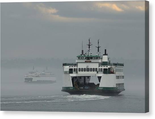 Ferries Pass In The Fog Canvas Print