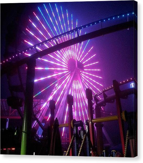 Santa Monica Pier Canvas Print - Ferris Wheel At 5am by Brett Dewey