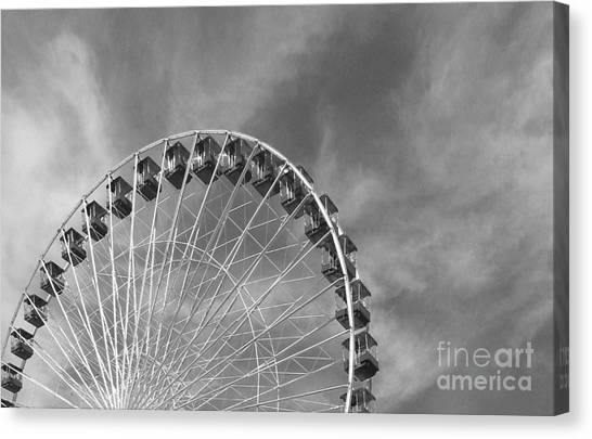 Ferris Wheel Black And White Canvas Print