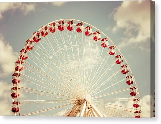Vintage Chicago Canvas Print - Ferris Wheel Chicago Navy Pier Vintage Photo by Paul Velgos