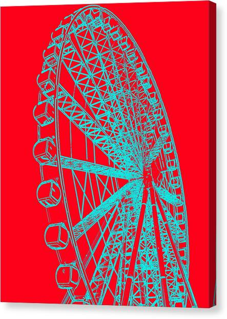 Ferris Wheel Silhouette Turquoise Red Canvas Print