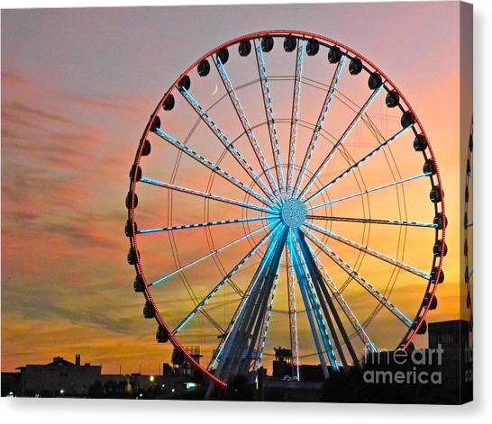 Ferris Wheel Sunset Canvas Print