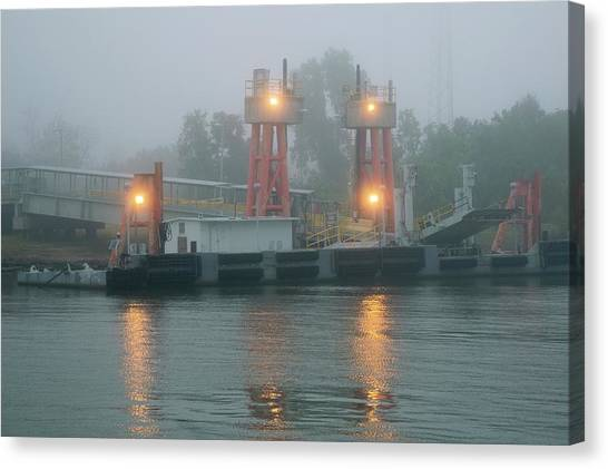 Mississippi River Canvas Print - Ferry Dock In Fog On The Mississippi by Jim West