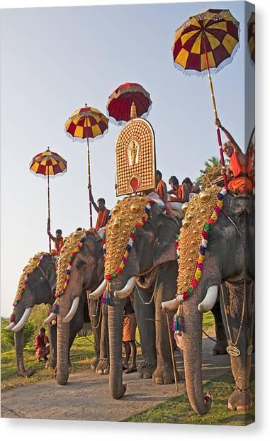 Kerala Festival Elephants Canvas Print