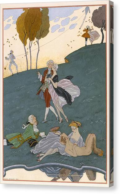 Centaurs Canvas Print - Fetes Galantes by Georges Barbier