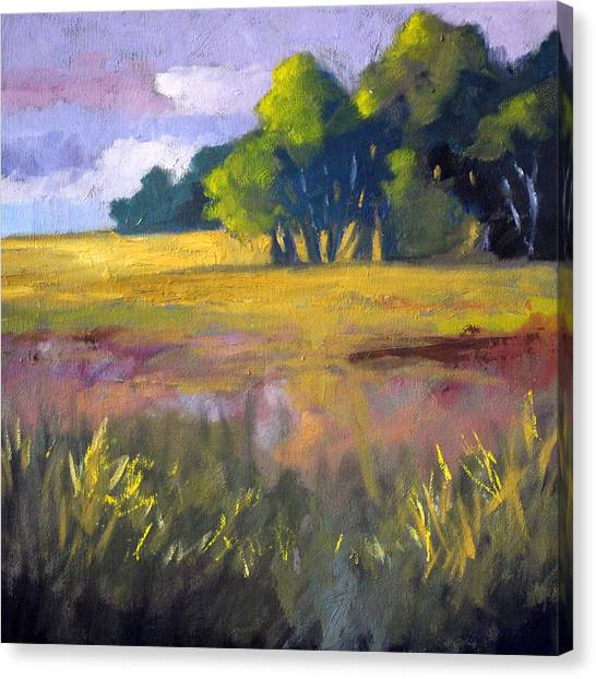 Field Grass Landscape Painting Canvas Print