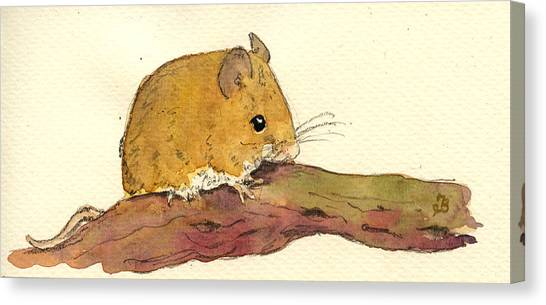 Farm Animals Canvas Print - Field Mouse by Juan  Bosco