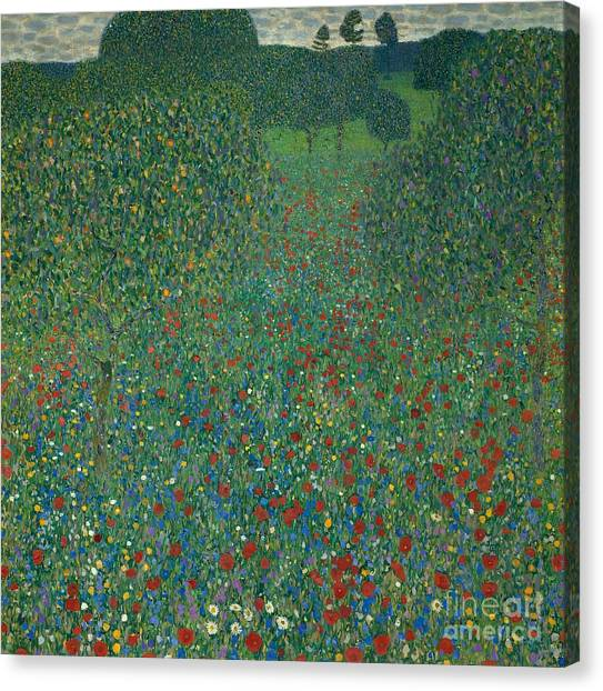 Art Movements Canvas Print - Field Of Poppies by Gustav Klimt