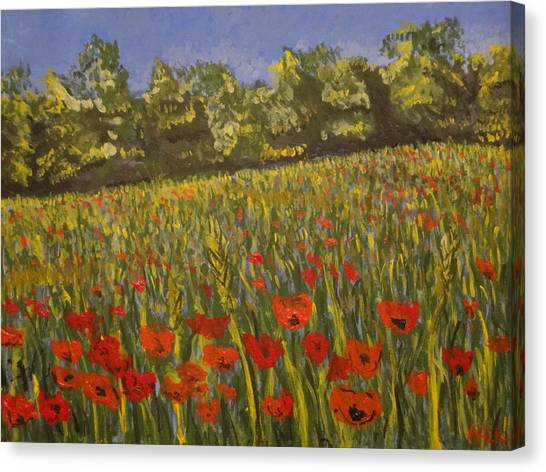 Field Of Poppies Canvas Print by Paul Benson