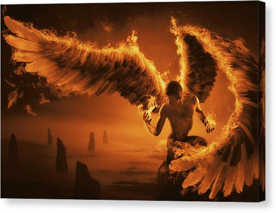 Winged Canvas Print - Fiery by Christophe Kiciak