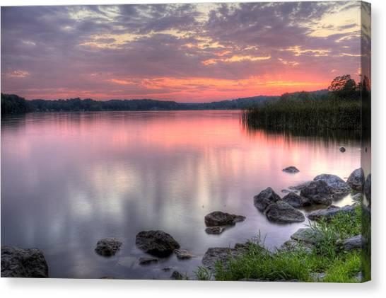 Fiery Lake Sunset Canvas Print