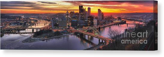 City Sunrises Canvas Print - Fiery Pittsburgh Morning Digital Painting by Adam Jewell