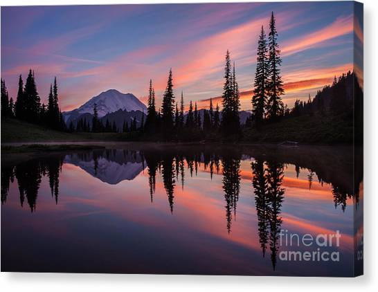 Mount Rainier Canvas Print - Fiery Rainier Sunset by Mike Reid