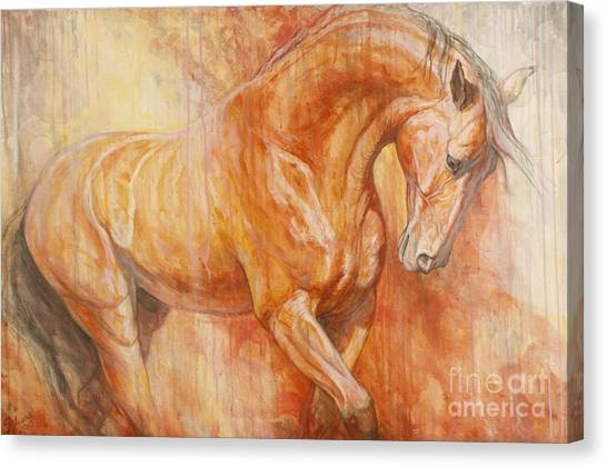 Bay Horse Canvas Print - Fiery Spirit by Silvana Gabudean Dobre