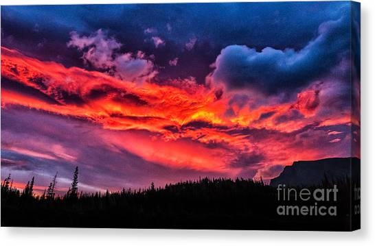 Fiery Sunrise At Glacier National Park Canvas Print