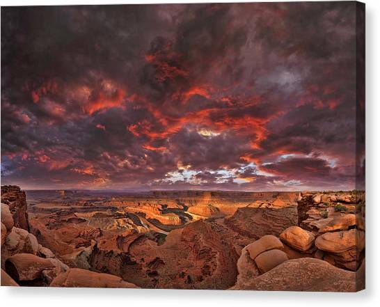 Fiery Sunrise Over Dead Horse Point State Park Canvas Print