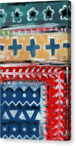 Pattern Canvas Print - Fiesta 3- Colorful Pattern Painting by Linda Woods