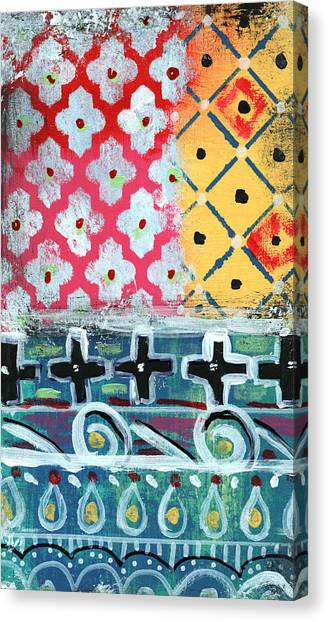 Diamonds Canvas Print - Fiesta 6- Colorful Pattern Painting by Linda Woods