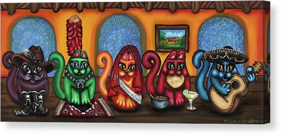 Folk Art Canvas Print - Fiesta Cats Or Gatos De Santa Fe by Victoria De Almeida
