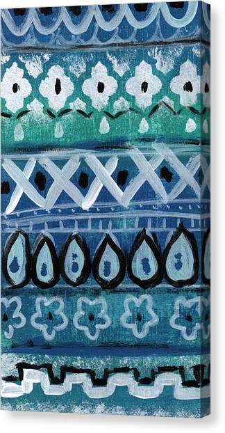 Triangles Canvas Print - Fiesta In Blue- Colorful Pattern Painting by Linda Woods