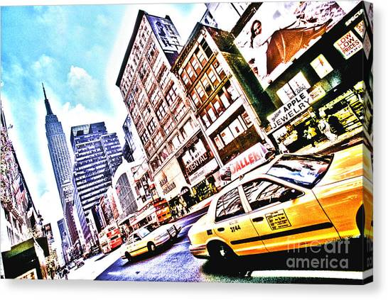 Fifth Avenue And Empire State Hdr Canvas Print by Kim Lessel