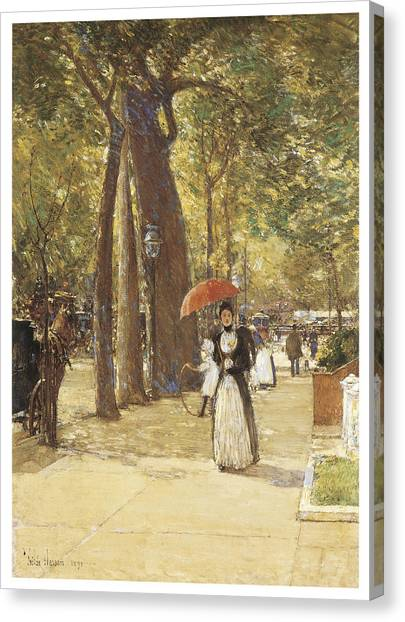 Fifth Avenue At Washington Square Canvas Print by Childe Hassam