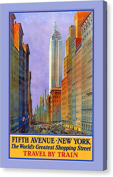 Fifth Avenue  New York Travel Poster Canvas Print by Denise Beverly