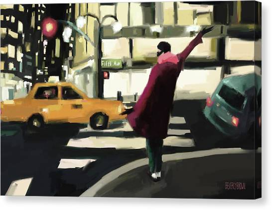 Taxi Canvas Print - Fifth Avenue Taxi New York City by Beverly Brown Prints