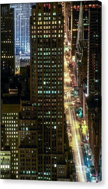 Fifth By Night With St. Patrick's Canvas Print by Kim Lessel