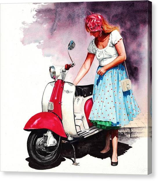 Fifties Lambretta Girl Canvas Print