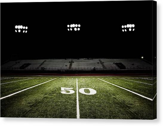 Fifty-yard Line Of Football Field At Canvas Print by Jgareri