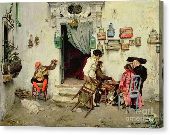 Chequered Canvas Print - Figaro's Shop by Jose Jimenes Aranda