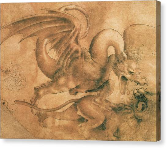 Mythological Creatures Canvas Print - Fight Between A Dragon And A Lion by Leonardo da Vinci