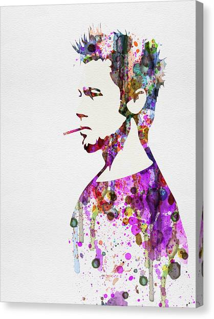 Fighting Canvas Print - Fight Club Watercolor by Naxart Studio