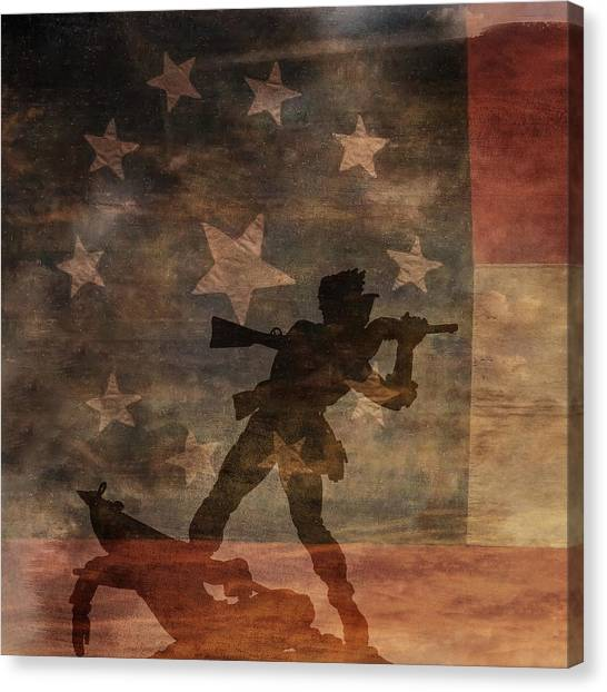Fight To The Death Silhouette Three Of Three Canvas Print by Randy Steele