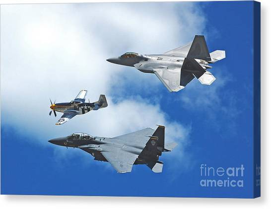 Fighter Jets Old And New Canvas Print