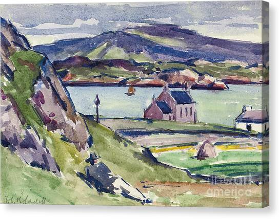 House Of Worship Canvas Print - Figure And Kirk   Iona by Francis Campbell Boileau Cadell
