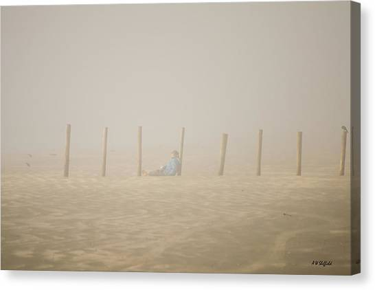 Figure In The Fog Canvas Print