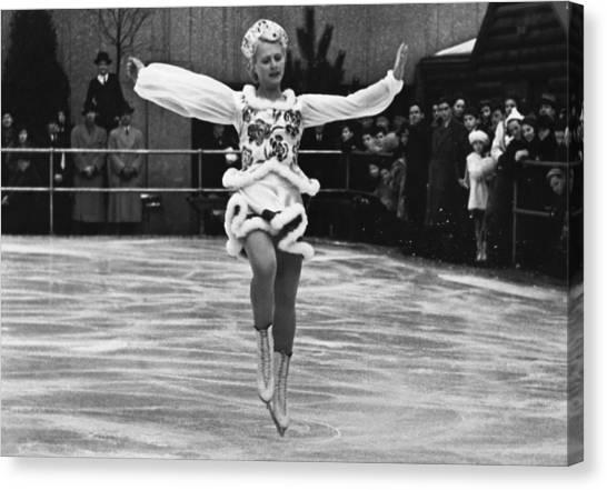 Figure Skating Canvas Print - Figure Skater Melitta Brunner by Underwood Archives