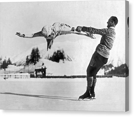 Acrobatic Canvas Print - Figure Skating Merry-go-round On The Ice by Underwood Archives