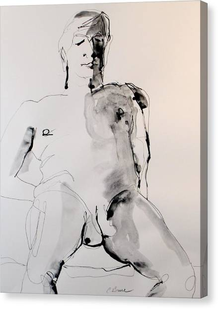 Figure11 Male Nude Study Canvas Print by Craig  Bruce