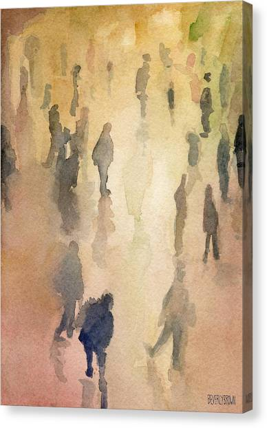 Lounge Canvas Print - Figures Grand Central Station Watercolor Painting Of Nyc by Beverly Brown