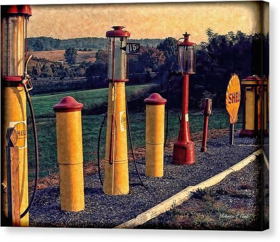 Fill 'er Up Vintage Fuel Gas Pumps Canvas Print