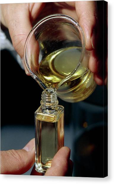 Filling A Sample Bottle With Perfume From A Beaker Canvas Print by Klaus Guldbrandsen/science Photo Library