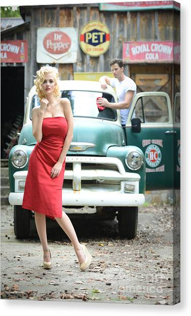 Dr. Pepper Canvas Print - Filling Service Pinup by Jt PhotoDesign