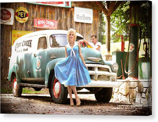 Dr. Pepper Canvas Print - Filling Station Pinup by Jt PhotoDesign