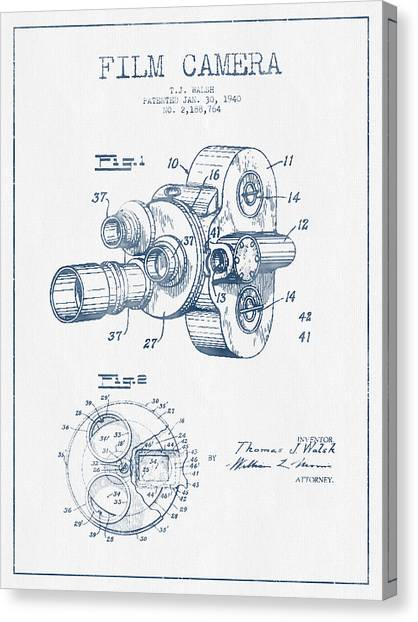 Vintage Camera Canvas Print - Film Camera Patent Drawing From 1938 - Blue Ink by Aged Pixel