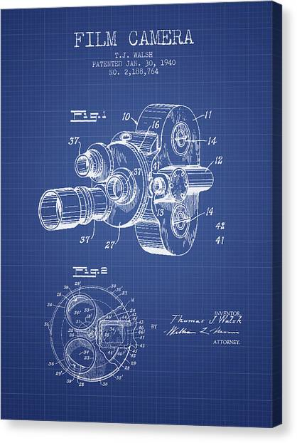 Vintage Camera Canvas Print - Film Camera Patent From 1940 - Blueprint by Aged Pixel