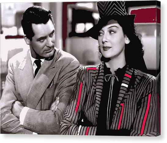 Film Homage Cary Grant Rosalind Russell Howard Hawks His Girl Friday 1940-2008 Canvas Print